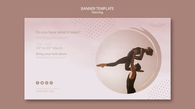 Banner template for dancing performers Free Psd
