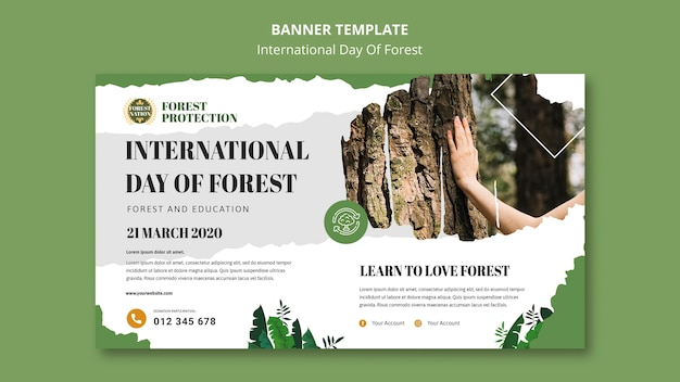 Banner template for day of forest with nature Free Psd