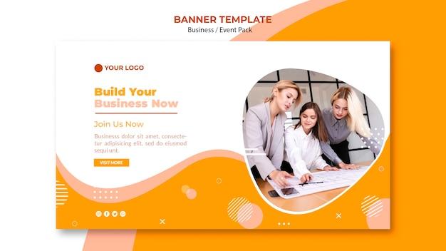 Дизайн шаблона баннера с бизнес командой Premium Psd