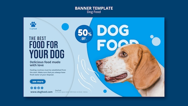 Banner template dog food Free Psd