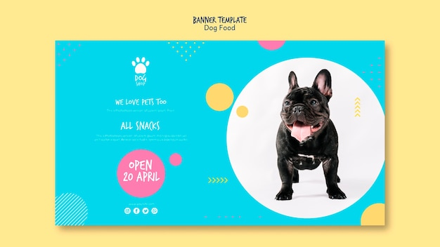 Banner template for dog shop opening Free Psd