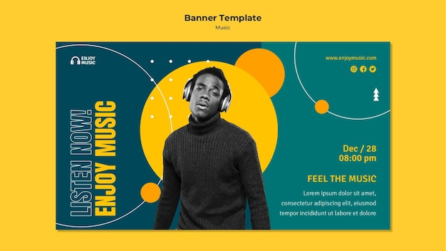 Banner template for enjoying music Free Psd