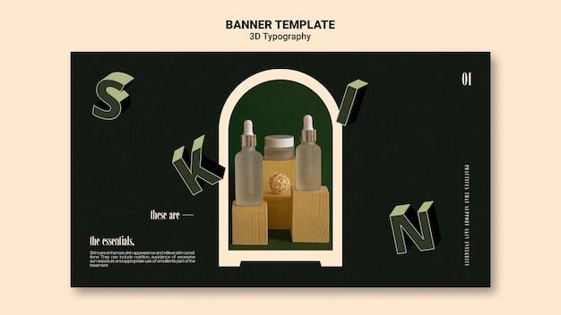 Modello di banner per display bottiglia di olio essenziale con lettere tridimensionali Psd Gratuite