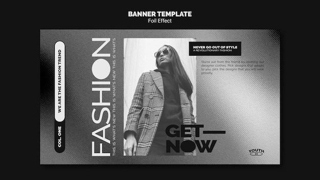Modello di banner per la moda con effetto lamina Psd Gratuite