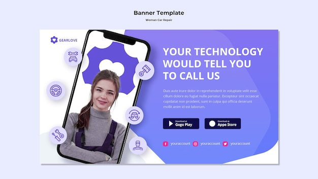 Banner template for female auto mechanic Free Psd