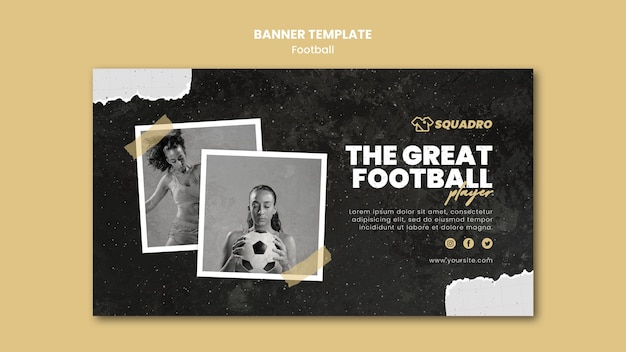 Banner template for female football player Free Psd