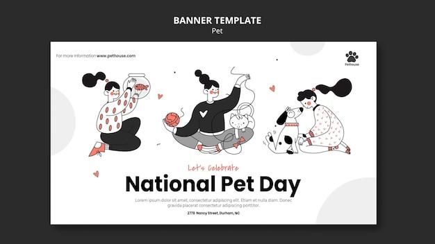 여성 소유자 및 애완 동물과 함께 국가 애완 동물의 날 배너 템플릿 무료 PSD 파일
