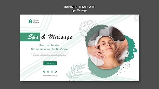 Шаблон баннера для спа-массажа с женщиной Бесплатные Psd