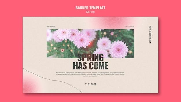 花と春のバナーテンプレート 無料 Psd