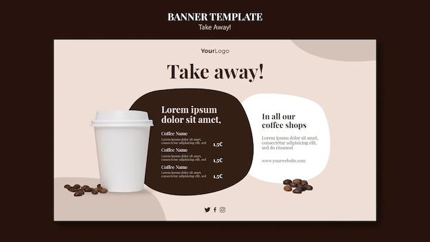 Шаблон баннера для кофе на вынос Бесплатные Psd