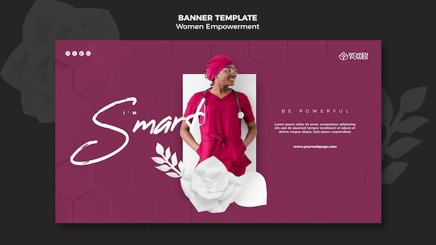 격려하는 단어로 여성 권한 부여를위한 배너 템플릿 무료 PSD 파일