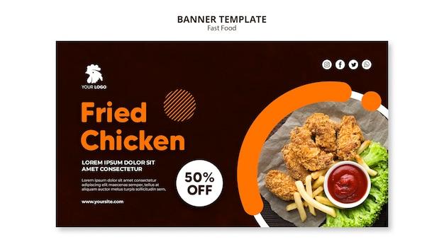 Banner template for fried chicken restaurant Premium Psd