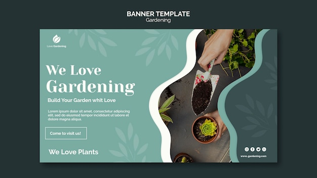 Banner template for gardening Free Psd