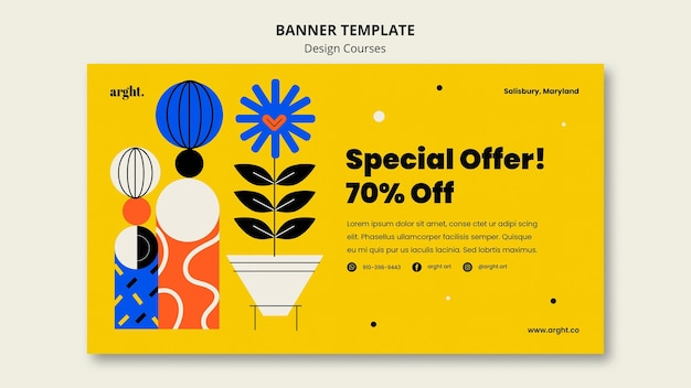 Banner template for graphic design classes Free Psd