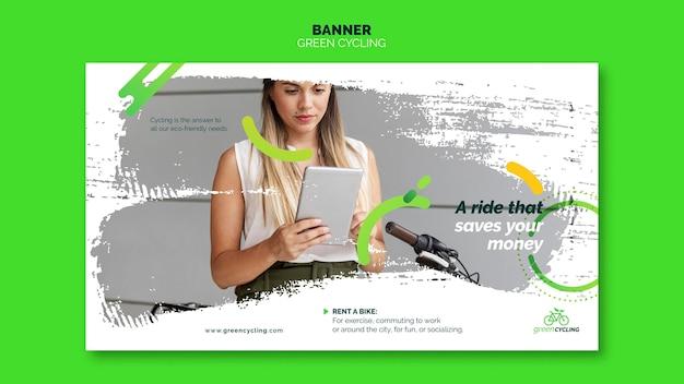 Banner template for green biking Free Psd
