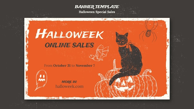 Banner template for halloweek Free Psd