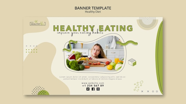 Banner template for healthy nutrition Free Psd