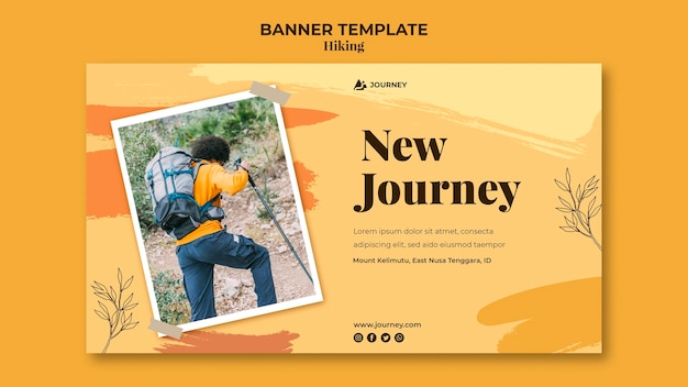 Banner template for hiking Free Psd