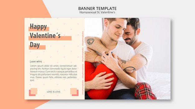 Banner template for homosexual st. valentine's with photo Free Psd