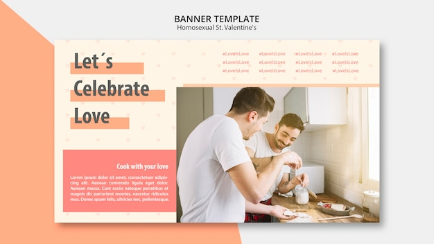 Banner template for homosexual st. valentine's with picture Free Psd