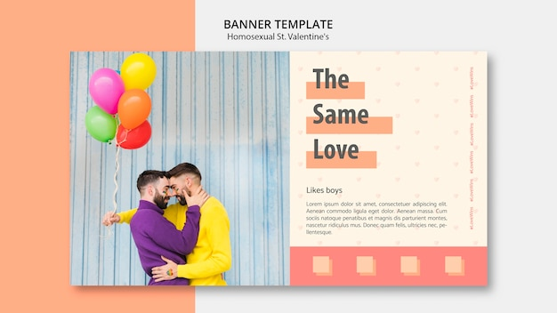 Banner template for homosexual st. valentine's Free Psd