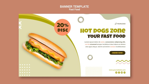 Banner template for hot dog restaurant Free Psd