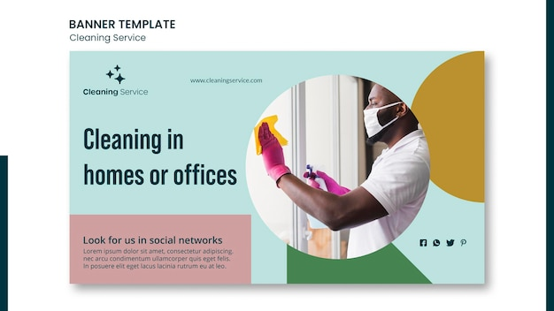 Banner template for house cleaning company Free Psd
