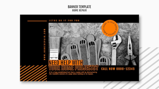 Banner template for house repair company Free Psd