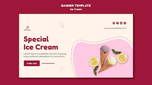 Баннер шаблон мороженого Бесплатные Psd