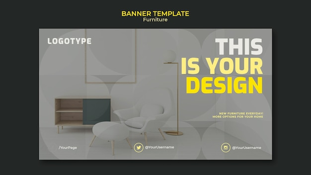 Banner template for interior design company Premium Psd