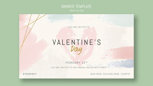 Banner template invitation for valentine's day Free Psd