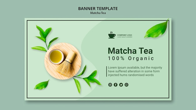 Banner template for matcha tea Free Psd