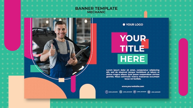 Banner template for mechanic profession Free Psd
