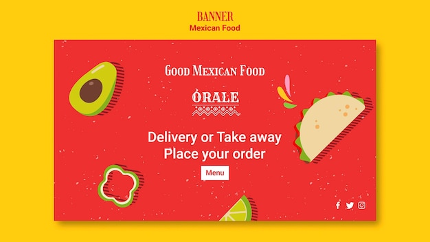バナーテンプレートメキシコ料理 無料 Psd