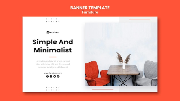 Banner template for minimalist furniture designs Free Psd
