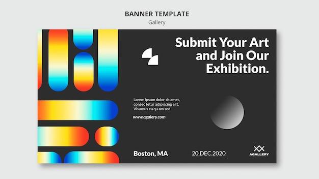 Banner template for modern art exposition Free Psd