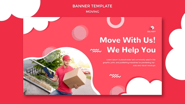 Banner template for moving company Free Psd