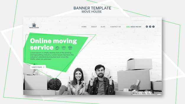 Banner template for moving service design Free Psd
