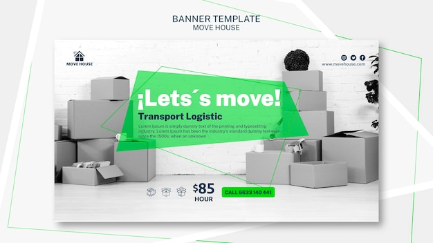 Banner template for moving service theme Free Psd