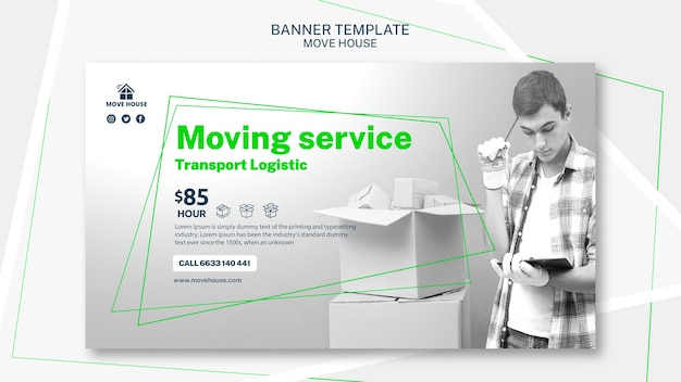 Banner template for moving service Free Psd