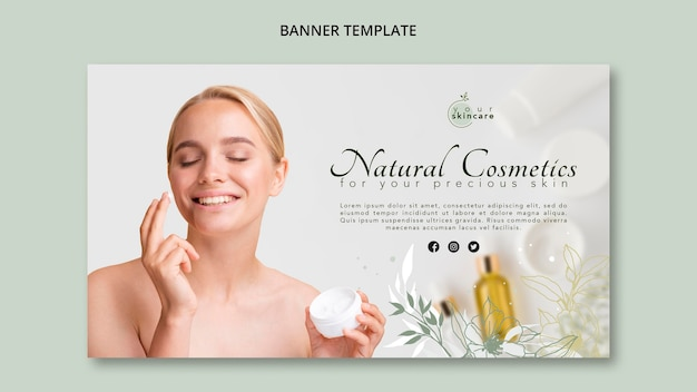 Banner template natural cosmetics shop Free Psd