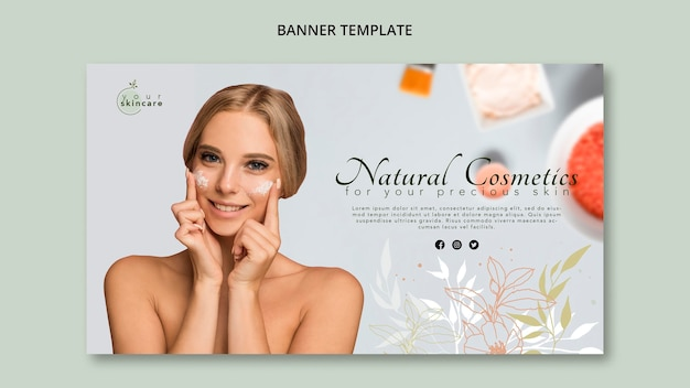 Banner template natural cosmetics Free Psd