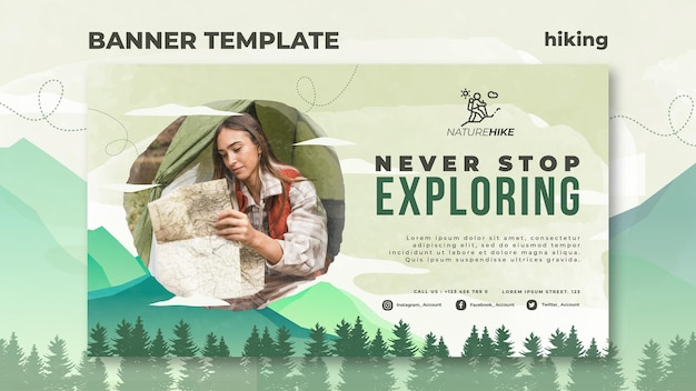 Banner template for nature hiking Free Psd