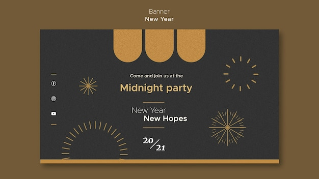 Banner template for new year's midnight party Free Psd