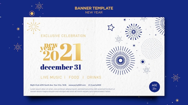 Banner template for new years party celebration Free Psd