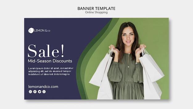Modello di banner per la vendita di moda online Psd Gratuite