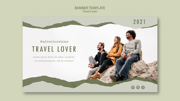 Banner template for outdoors traveling Free Psd