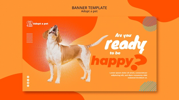Banner template for pet adoption from shelter Free Psd