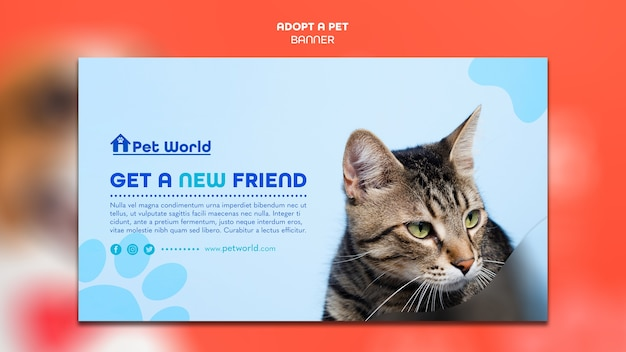 Banner template for pet adoption with cat Free Psd