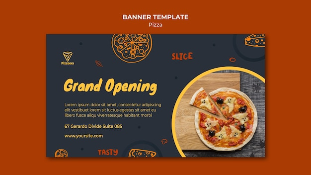 Banner template for pizza restaurant Free Psd